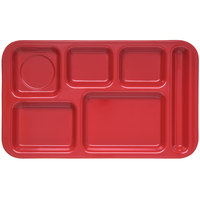 Carlisle 4398205 Melamine Space Saver 9 inch x 15 inch Red Right Hand 6 Compartment Tray