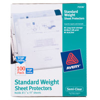 Avery 75536 8 1/2 inch x 11 inch Semi-Clear Standard Weight Top-Load Sheet Protector, Letter - 100/Box