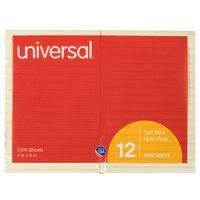 Universal UNV35673 4 inch x 6 inch Yellow Lined Self-Stick Note   - 12/Pack