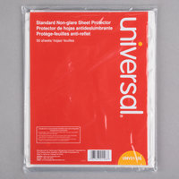 Universal UNV21126 8 1/2 inch x 11 inch Clear Standard Weight Non-Glare Top-Load Sheet Protector, Letter   - 50/Pack