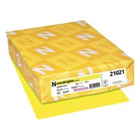Neenah 21021 Astrobrights 8 1/2 inch x 11 inch Lift-Off Lemon Pack of 65# Smooth Color Paper Cardstock - 250/Pack