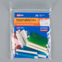 Avery 16239 2 inch Assorted Color Plastic Index Tabs with Printable Inserts - 25/Pack