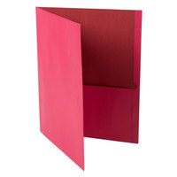 Universal Office UNV56611 11 inch x 8 1/2 inch Red Two Pocket Embossed Leather Grain Paper Folder, Letter - 25/Box