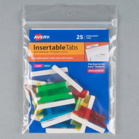 Avery 16228 1 1/2 inch Assorted Color Plastic Index Tabs with Printable Inserts - 25/Pack