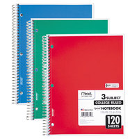 Mead 06710 11 inch x 8 inch Assorted Color College Rule 3 Subject Spiral Bound Notebook - 120 Sheets