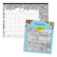 Blueline CA2917311 DoodlePlan 22 inch x 17 inch White Monthly Academic August 2018 - July 2019 Desk Pad Calendar with Coloring Pages