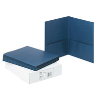 Avery 47985 11 inch x 8 1/2 inch Dark Blue Two Pocket Paper Folder, Letter - 25/Box