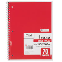 Mead 05510 7 1/2 inch x 10 1/2 inch Assorted Color Legal Rule 1 Subject Spiral Bound Notebook - 70 Sheets