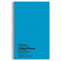 National 33360 9 1/2 inch x 6 inch Blue College Rule 3 Subject Wirebound Notebook - 150 Sheets
