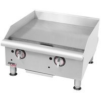 APW Wyott GGT-24i Workline 24 inch Countertop Griddle with Thermostatic Controls and Safety Pilot - 50,000 BTU