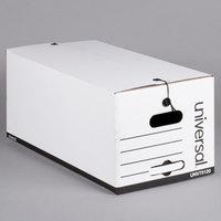 Universal UNV75120 24 inch x 12 inch x 10 inch White Economy Fiberboard Storage Box with Tie Closure   - 12/Case