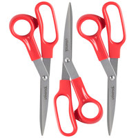 Universal UNV92019 7 3/4 inch Stainless Steel Scissors with Red Bent Handle - Right Hand Use - 3/Pack
