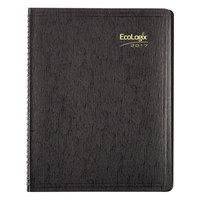 Brownline CB435WBLK 8 1/2 inch x 11 inch Black 2018 EcoLogix Soft Cover Monthly Planner