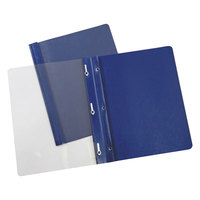 Universal Office UNV56138 11 inch x 8 1/2 inch Dark Blue Paper Report Cover with Clear Cover and Prong Fasteners, Letter - 25/Box
