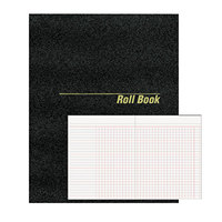 National 43523 9 1/2 inch x 7 7/8 inch Black Roll Call Book, 48 Sheets