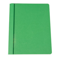 Universal Office UNV57124 11 inch x 8 1/2 inch Green Leatherette Embossed Paper Report Cover with Clear Cover and Prong Fasteners, Letter - 25/Box