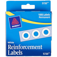 Avery 5720 1/4 inch White Hole Reinforcement Label with Dispenser - 1000/Pack