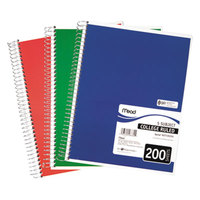 Mead 06780 8 inch x 11 inch Assorted Color College Rule 5 Subject Spiral Bound Notebook - 200 Sheets
