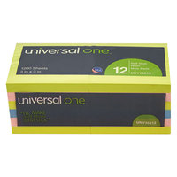 Universal UNV35612 3 inch x 3 inch Assorted Neon Color Self-Stick Note - 12/Pack
