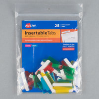 Avery 16219 1 inch Assorted Color Plastic Index Tabs with Printable Inserts - 25/Pack