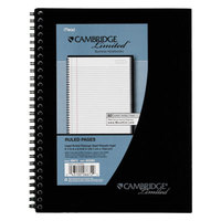 Cambridge 06672 9 1/2 inch x 6 5/8 inch Black Linen Legal Rule Side Bound Meeting Notebook - 80 Sheets