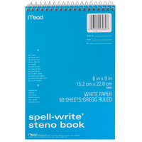 Mead 43082 6 inch x 9 inch White Gregg Rule Spell-Write Spiral Steno Book - 80 Sheets