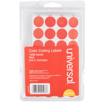 Universal UNV40103 3/4 inch Round Red Color Coding Labels - 1008/Pack