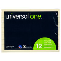 Universal UNV28073 4 inch x 6 inch Yellow Ruled Recycled Sticky Note - 12/Pack