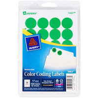 Avery 5463 3/4 inch Green Round Removable Write-On / Printable Labels - 1008/Pack