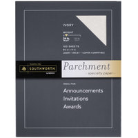 Southworth P984CK336 8 1/2 inch x 11 inch Ivory Pack of 24# Parchment Specialty Paper - 100/Sheets