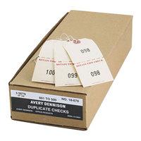 Avery 18670 4 3/4 inch x 2 3/8 inch Manila Extra Large Claim Check - #1 to #500 - 500/Box