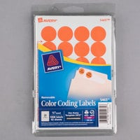 Avery 5465 3/4 inch Orange Round Removable Write-On / Printable Labels - 1008/Pack