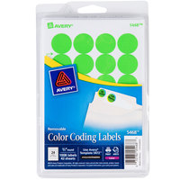 Avery 5468 3/4 inch Neon Green Round Removable Write-On / Printable Labels - 1008/Pack