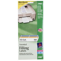 Avery 2180 2/3 inch x 3 7/16 inch Mini-Sheets Assorted Printable File Folder Labels - 300/Pack