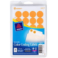 Avery 5471 3/4 inch Neon Orange Round Removable Write-On / Printable Labels - 1008/Pack