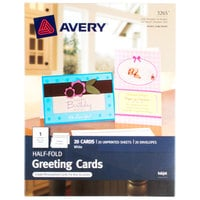 Avery 3265 5 1/2 inch x 8 1/2 inch Printable Half-Fold Greeting Cards with Envelopes - 20/Pack