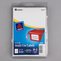 Avery 5444 2 inch x 4 inch White Rectangular Removable Write-On / Printable Labels - 100/Pack
