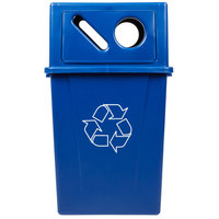 Carlisle 56 Gallon Blue Square Recycling Container with Recycle Lid