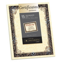 Southworth SOU98866 8 1/2 inch x 11 inch Ivory Foil-Enhanced 24# Parchment Certificate Paper with Silver Foil - 15/Pack
