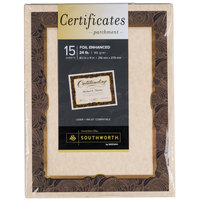 Southworth 98868 8 1/2 inch x 11 inch Ivory Foil-Enhanced Pack of 24# Parchment Certificate Paper with Gold Foil - 15/Sheets