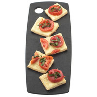 Cal-Mil 1531-612-13 Black Round Edge Rectangular Flat Bread Serving Board - 12 inch x 6 inch x 1/4 inch
