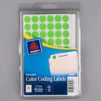 Avery 5052 1/2 inch Neon Green Round Removable Color Coding Labels - 840/Pack