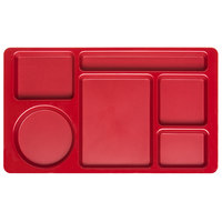 Carlisle 61505 Space Saver 8 3/4 inch x 15 inch Red ABS Plastic 6 Compartment Tray