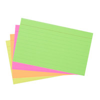 Universal UNV47217 3 inch x 5 inch Neon Glow Ruled Index Cards   - 100/Pack