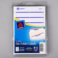 Avery 05204 11/16 inch x 3 7/16 inch White / Purple Rectangular Write-On / Printable 1/3 Cut File Folder Labels - 252/Pack