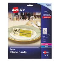Avery 5012 1 7/16 inch x 3 3/4 inch Ivory Textured Tent Cards - 150/Pack