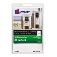 Avery 00761 2 1/4 inch x 3 1/4 inch White Rectangular Printable Self-Laminating ID Labels - 10/Pack