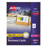 Avery 5877 2 inch x 3 1/2 inch Uncoated White Clean Edge Business Cards - 400/Pack