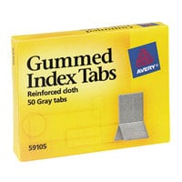 Avery 59105 7/16 inch x 13/16 inch Gray Reinforced Cloth Gummed Index Tabs - 50/Pack