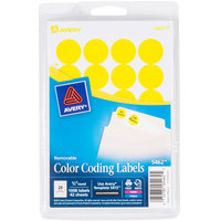 Avery 5462 3/4 inch Yellow Round Removable Write-On / Printable Labels - 1008/Pack